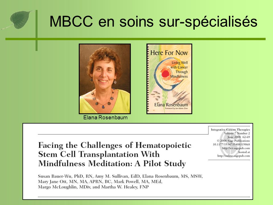 MBCC en soins sur-spécialisés Elana Rosenbaum