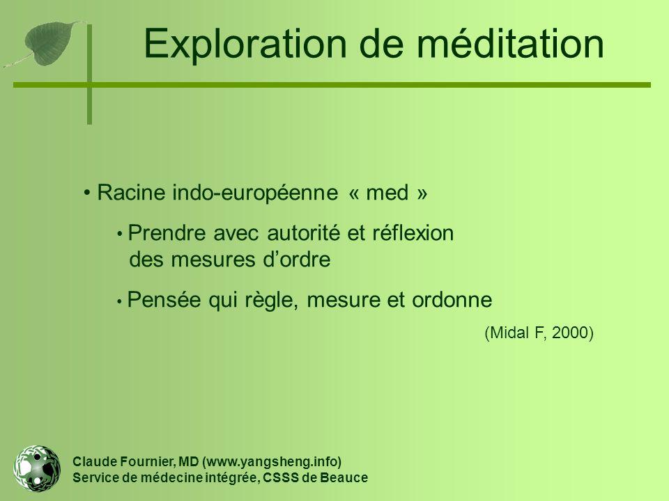 Exploration de méditation Racine indo-européenne « med » Prendre avec autorité et réflexion des mesures d'ordre Pensée qui règle, mesure et ordonne (M