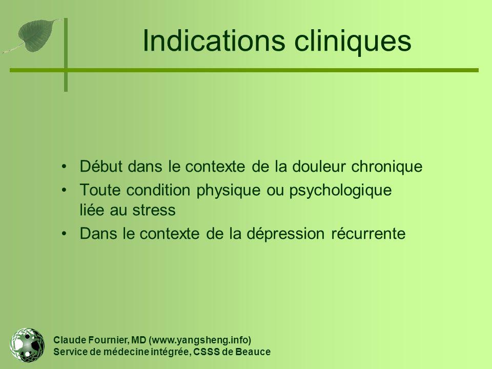 Indications cliniques Début dans le contexte de la douleur chronique Toute condition physique ou psychologique liée au stress Dans le contexte de la d
