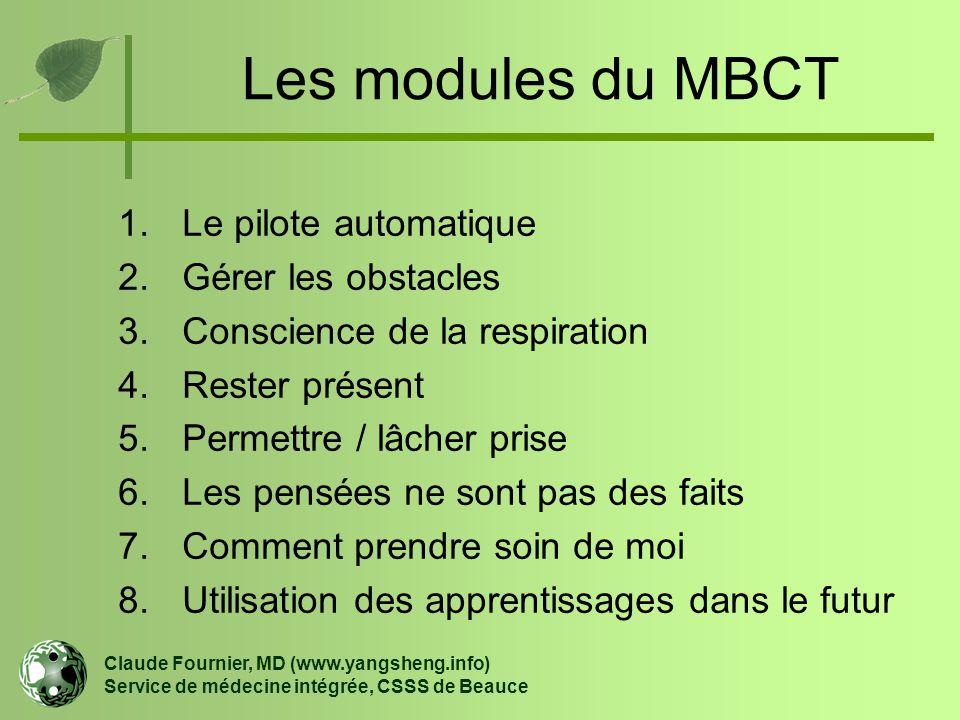 Les modules du MBCT 1.Le pilote automatique 2.Gérer les obstacles 3.Conscience de la respiration 4.Rester présent 5.Permettre / lâcher prise 6.Les pen