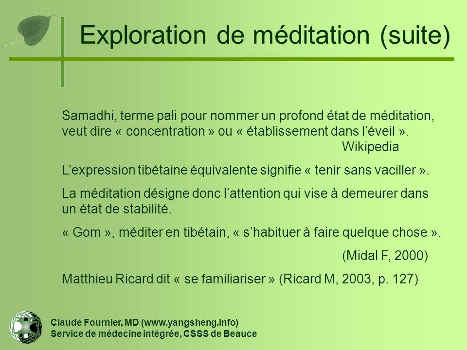 Exploration de méditation (suite) Samadhi, terme pali pour nommer un profond état de méditation, veut dire « concentration » ou « établissement dans l