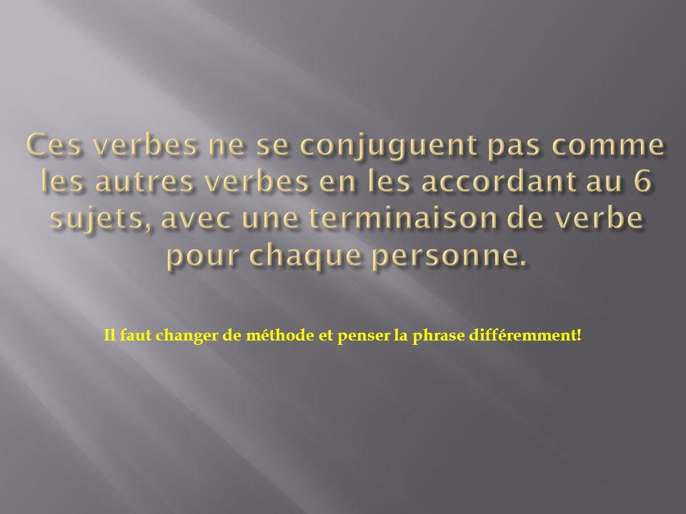 Il faut changer de méthode et penser la phrase différemment!