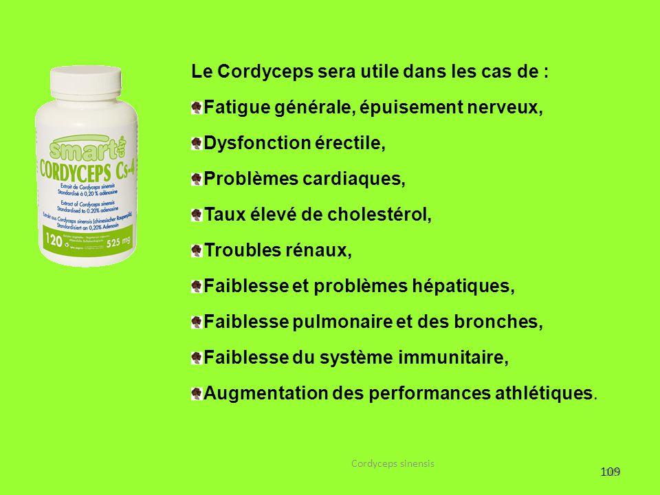 109 Le Cordyceps sera utile dans les cas de : Fatigue générale, épuisement nerveux, Dysfonction érectile, Problèmes cardiaques, Taux élevé de cholesté