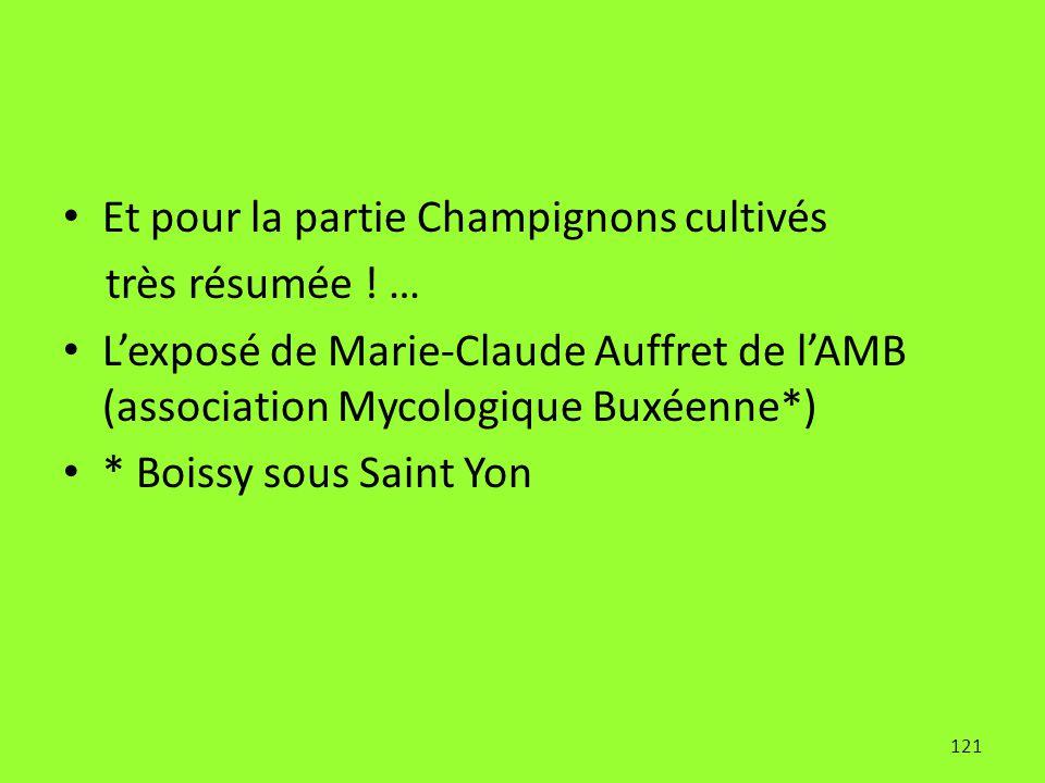 121 Et pour la partie Champignons cultivés très résumée ! … L'exposé de Marie-Claude Auffret de l'AMB (association Mycologique Buxéenne*) * Boissy sou