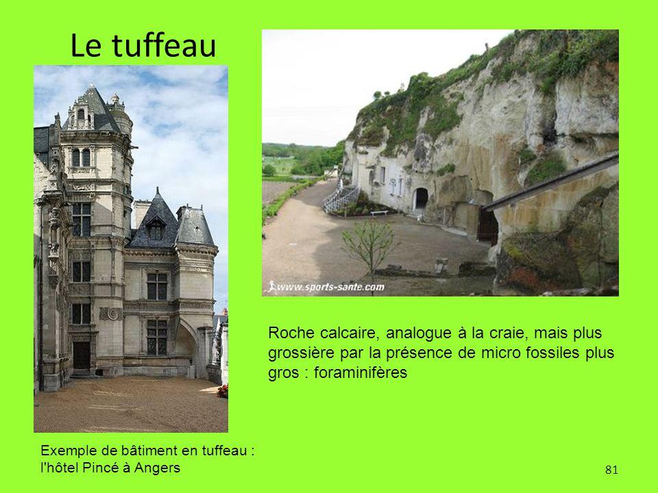 81 Le tuffeau Roche calcaire, analogue à la craie, mais plus grossière par la présence de micro fossiles plus gros : foraminifères Exemple de bâtiment