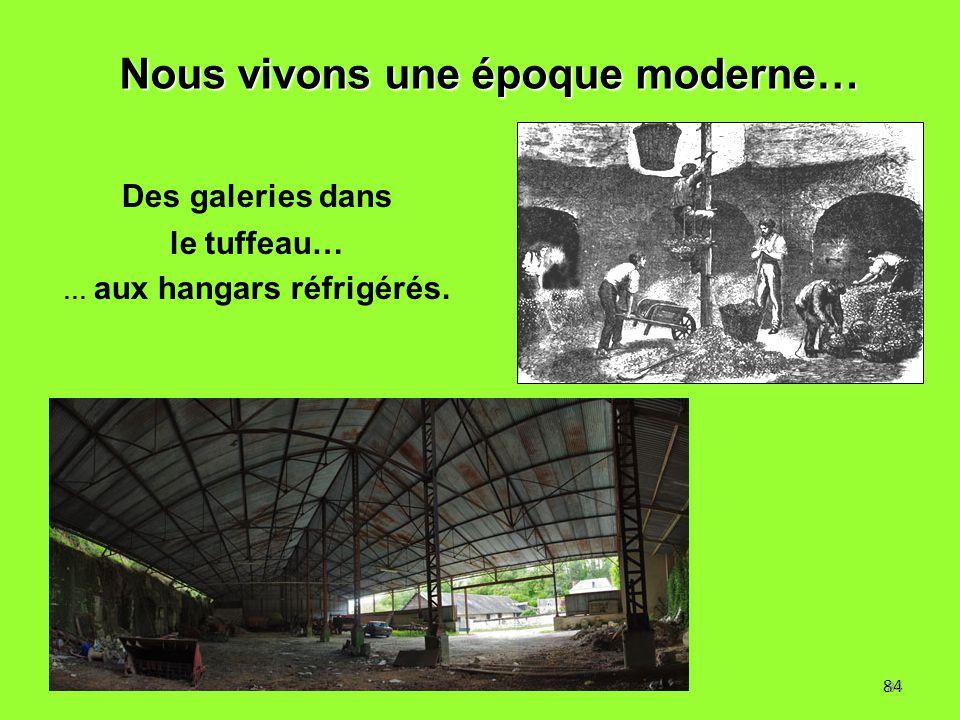 84 Des galeries dans le tuffeau… … aux hangars réfrigérés. Nous vivons une époque moderne… 84