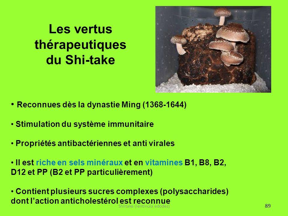 89 Les vertus thérapeutiques du Shi-take Shiitake (lentinula edodes)89 Reconnues dès la dynastie Ming (1368-1644) Stimulation du système immunitaire P