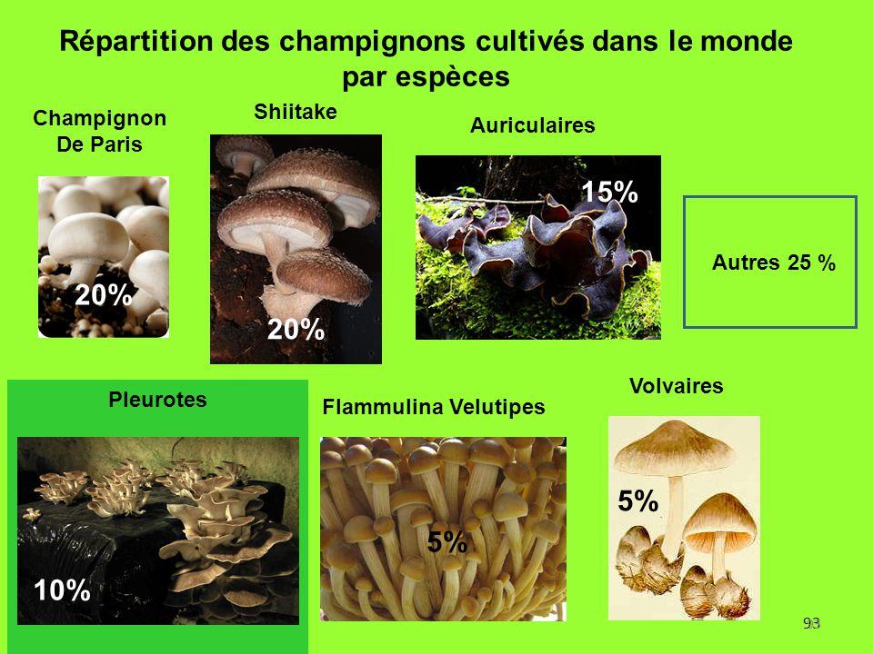 93 Répartition des champignons cultivés dans le monde par espèces 20% 5% 10% 5% Autres 25 % 15% Flammulina Velutipes Pleurotes Champignon De Paris Shi