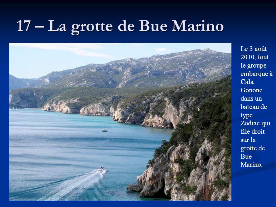 17 – La grotte de Bue Marino Le 3 août 2010, tout le groupe embarque à Cala Gonone dans un bateau de type Zodiac qui file droit sur la grotte de Bue M