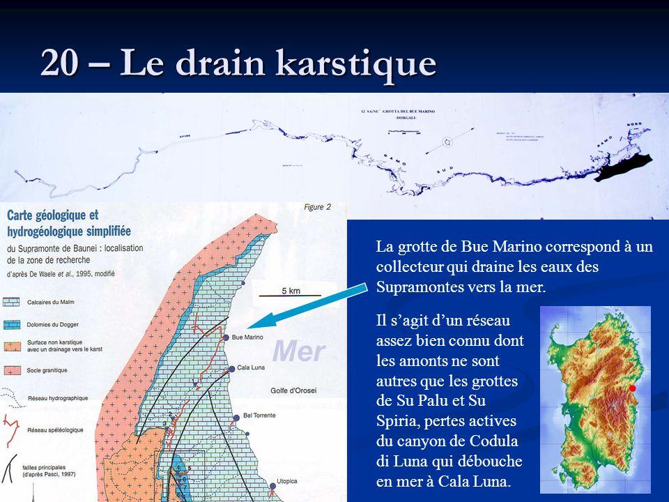20 – Le drain karstique La grotte de Bue Marino correspond à un collecteur qui draine les eaux des Supramontes vers la mer. Il s'agit d'un réseau asse