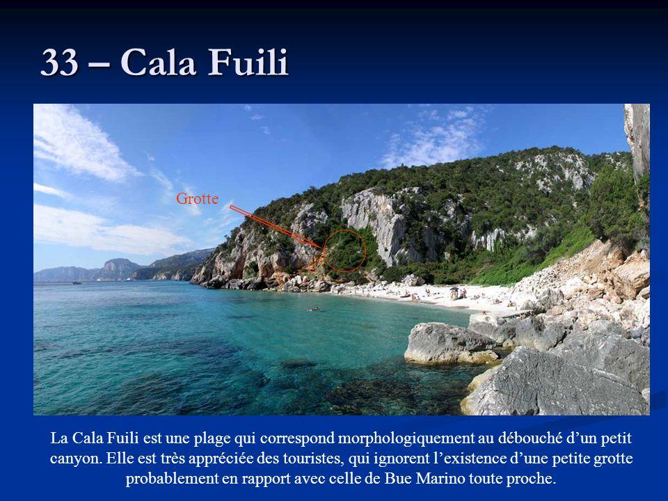 33 – Cala Fuili La Cala Fuili est une plage qui correspond morphologiquement au débouché d'un petit canyon. Elle est très appréciée des touristes, qui