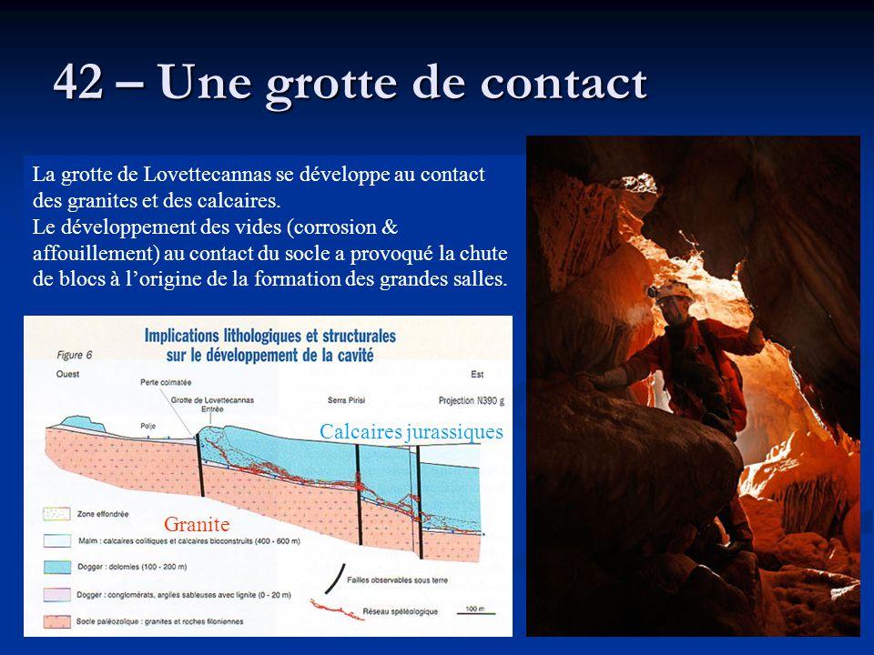 42 – Une grotte de contact La grotte de Lovettecannas se développe au contact des granites et des calcaires. Le développement des vides (corrosion & a
