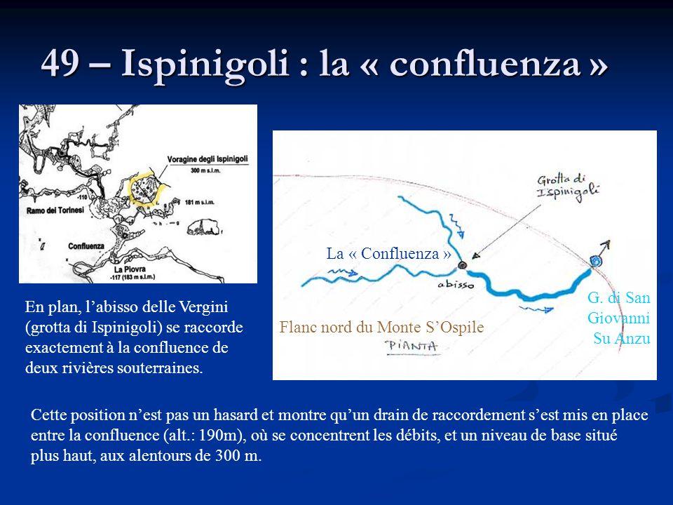 49 – Ispinigoli : la « confluenza » Cette position n'est pas un hasard et montre qu'un drain de raccordement s'est mis en place entre la confluence (a