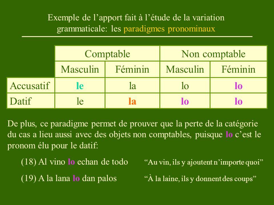 Exemple de l'apport fait à l'étude de la variation grammaticale: les paradigmes pronominaux ComptableNon comptable MasculinFémininMasculinFéminin Accusatiflelalo Datiflelalo De plus, ce paradigme permet de prouver que la perte de la catégorie du cas a lieu aussi avec des objets non comptables, puisque lo c'est le pronom élu pour le datif: (18) Al vino lo echan de todo Au vin, ils y ajoutent n'importe quoi (19) A la lana lo dan palos À la laine, ils y donnent des coups