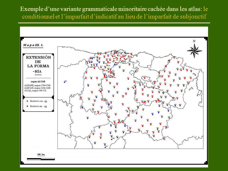Exemple d'une variante grammaticale minoritaire cachée dans les atlas: le conditionnel et l'imparfait d'indicatif au lieu de l'imparfait de subjonctif