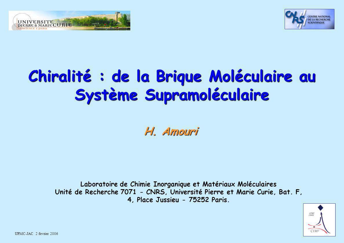 UPMC-JAC 2 fevrier 2006 Chiralité : de la Brique Moléculaire au Système Supramoléculaire H. Amouri Laboratoire de Chimie Inorganique et Matériaux Molé