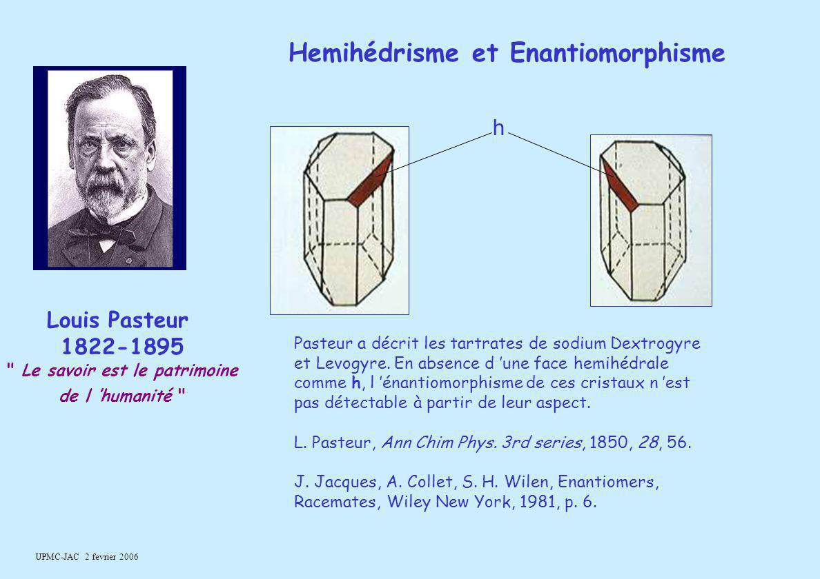UPMC-JAC 2 fevrier 2006 h Pasteur a décrit les tartrates de sodium Dextrogyre et Levogyre. En absence d 'une face hemihédrale comme h, l 'énantiomorph