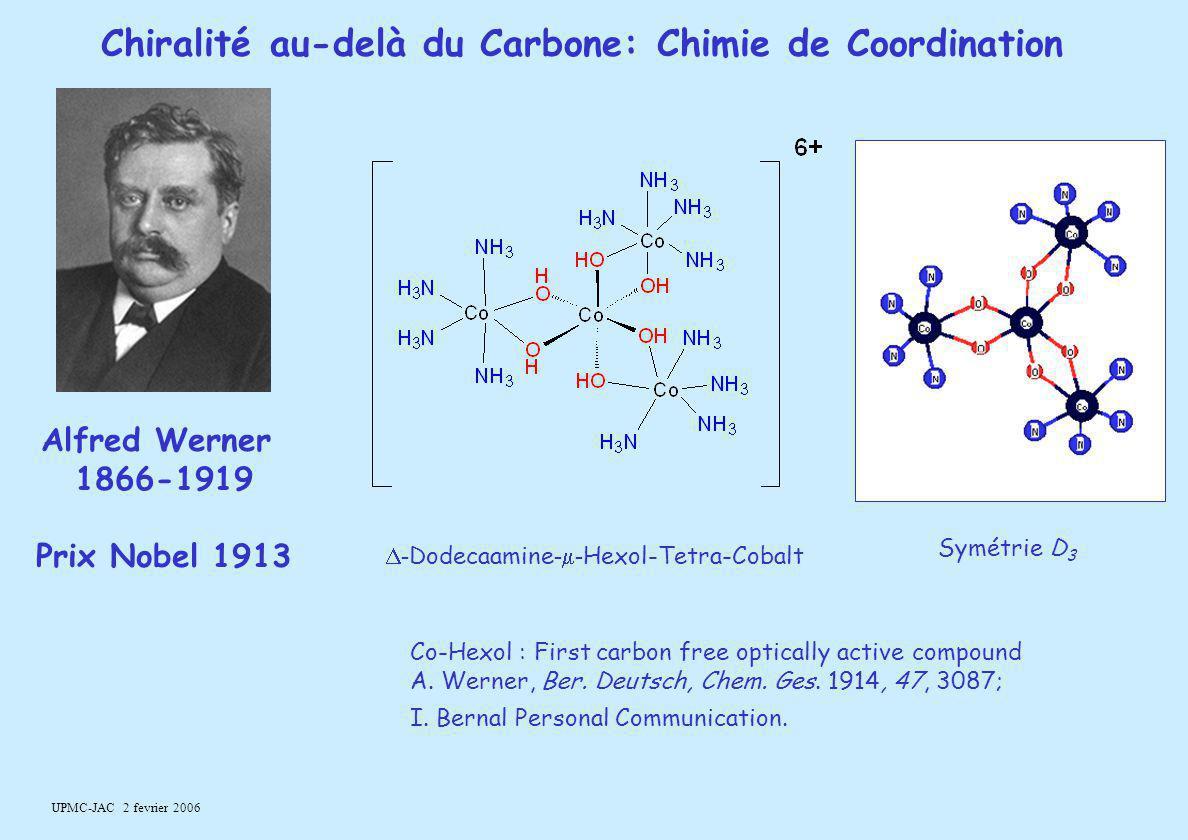 UPMC-JAC 2 fevrier 2006 Alfred Werner 1866-1919 Prix Nobel 1913 Chiralité au-delà du Carbone: Chimie de Coordination Co-Hexol : First carbon free opti
