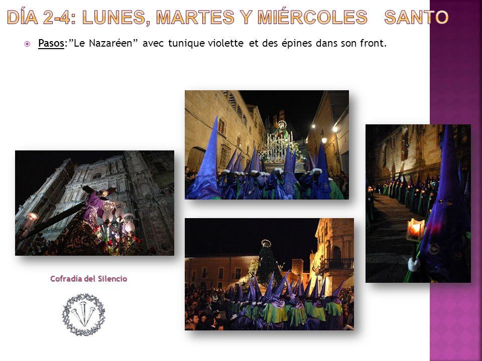  Pasos: Le Nazaréen avec tunique violette et des épines dans son front. Cofradía del Silencio
