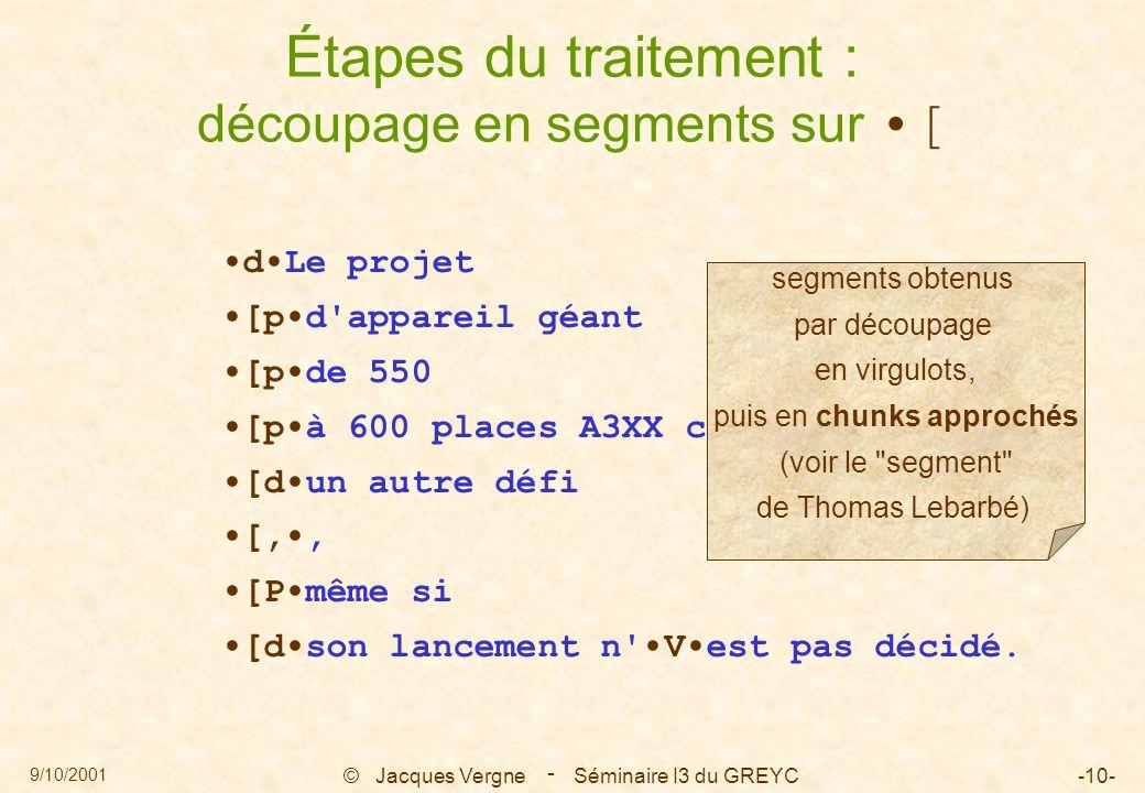 9/10/2001 © Jacques Vergne Séminaire I3 du GREYC-10- - Étapes du traitement : découpage en segments sur [ dLe projet [pd'appareil géant [pde 550 [pà 6