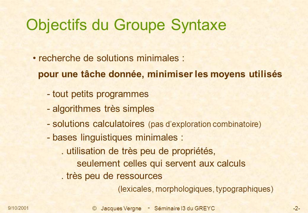 9/10/2001 © Jacques Vergne Séminaire I3 du GREYC-2- - Objectifs du Groupe Syntaxe recherche de solutions minimales : pour une tâche donnée, minimiser