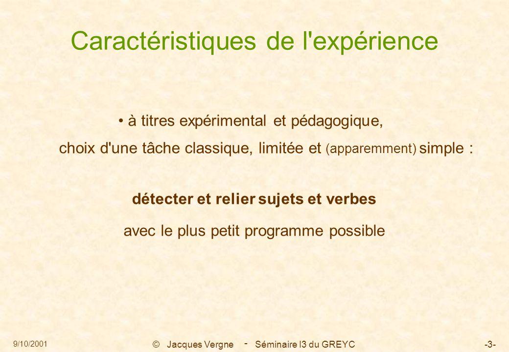 9/10/2001 © Jacques Vergne Séminaire I3 du GREYC-3- - Caractéristiques de l expérience à titres expérimental et pédagogique, choix d une tâche classique, limitée et (apparemment) simple : détecter et relier sujets et verbes avec le plus petit programme possible