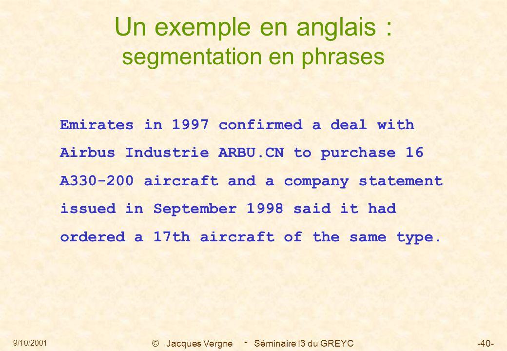 9/10/2001 © Jacques Vergne Séminaire I3 du GREYC-40- - Un exemple en anglais : segmentation en phrases Emirates in 1997 confirmed a deal with Airbus I