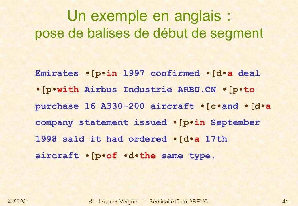 9/10/2001 © Jacques Vergne Séminaire I3 du GREYC-41- - Un exemple en anglais : pose de balises de début de segment Emirates [pin 1997 confirmed [da de