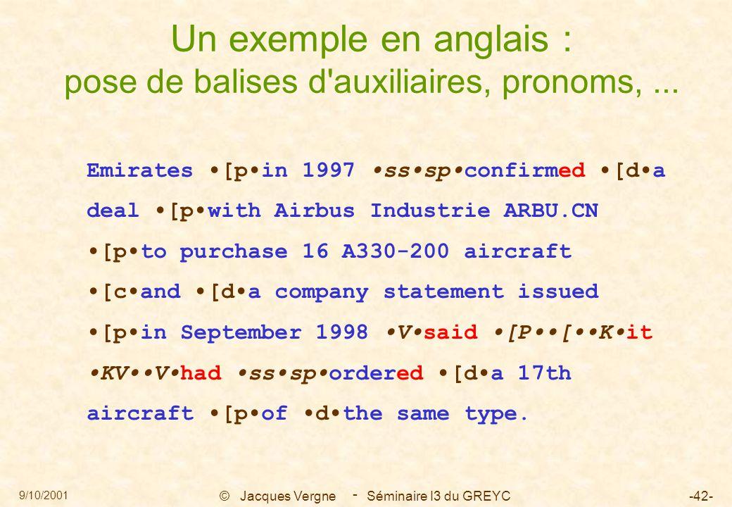 9/10/2001 © Jacques Vergne Séminaire I3 du GREYC-42- - Un exemple en anglais : pose de balises d'auxiliaires, pronoms,... Emirates [pin 1997 ssspconfi