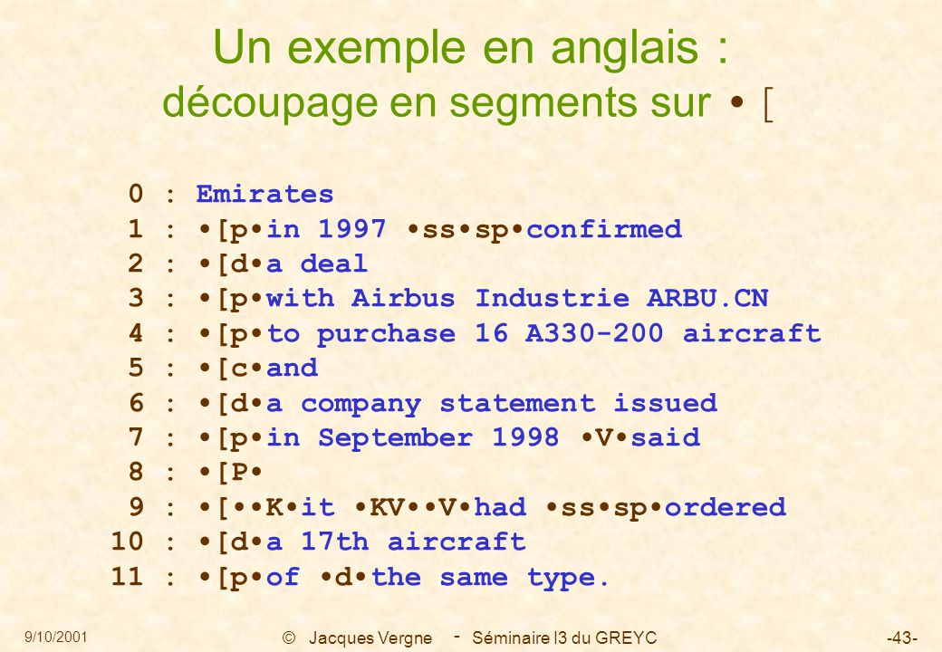 9/10/2001 © Jacques Vergne Séminaire I3 du GREYC-43- - Un exemple en anglais : découpage en segments sur [ 0 : Emirates 1 : [pin 1997 ssspconfirmed 2 : [da deal 3 : [pwith Airbus Industrie ARBU.CN 4 : [pto purchase 16 A330-200 aircraft 5 : [cand 6 : [da company statement issued 7 : [pin September 1998 Vsaid 8 : [P 9 : [Kit KVVhad ssspordered 10 : [da 17th aircraft 11 : [pof dthe same type.