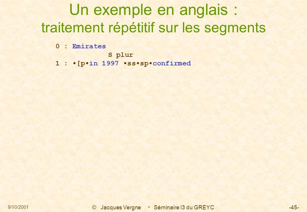 9/10/2001 © Jacques Vergne Séminaire I3 du GREYC-45- - Un exemple en anglais : traitement répétitif sur les segments 0 : Emirates S plur 1 : [pin 1997