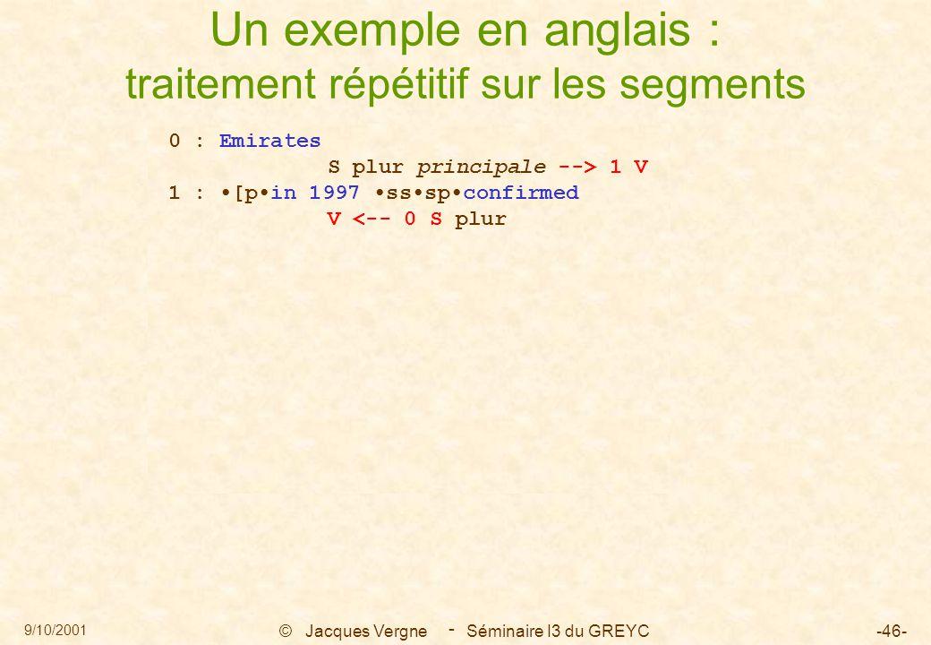9/10/2001 © Jacques Vergne Séminaire I3 du GREYC-46- - Un exemple en anglais : traitement répétitif sur les segments 0 : Emirates S plur principale --