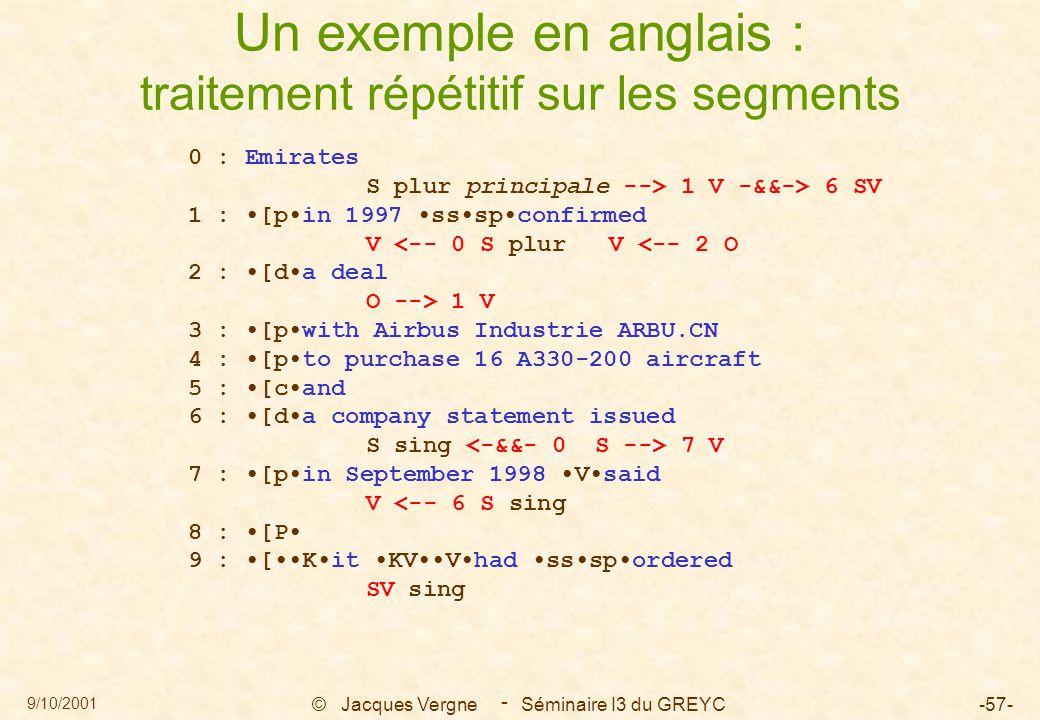 9/10/2001 © Jacques Vergne Séminaire I3 du GREYC-57- - Un exemple en anglais : traitement répétitif sur les segments 0 : Emirates S plur principale --