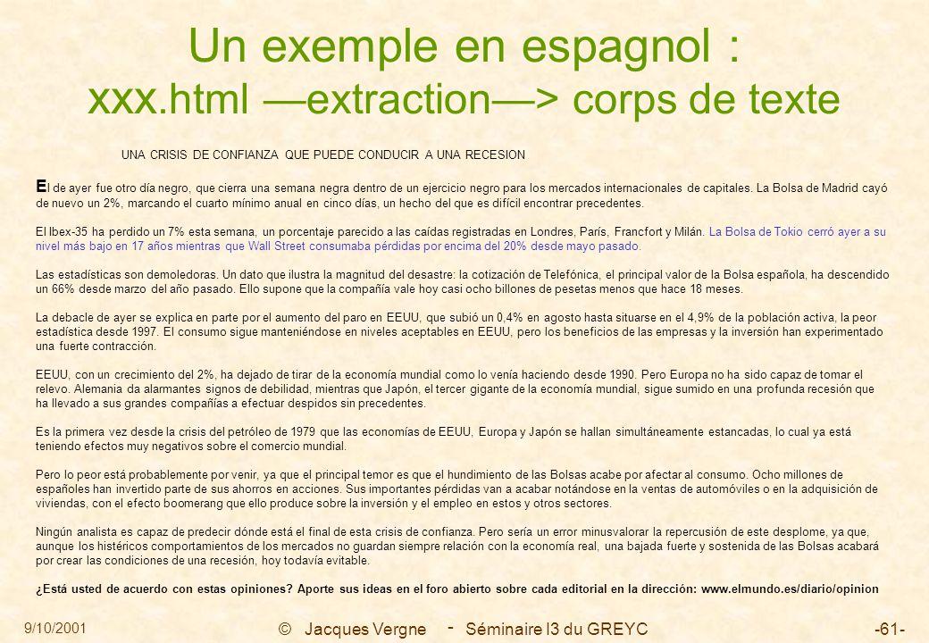 9/10/2001 © Jacques Vergne Séminaire I3 du GREYC-61- - Un exemple en espagnol : xxx.html —extraction—> corps de texte UNA CRISIS DE CONFIANZA QUE PUED