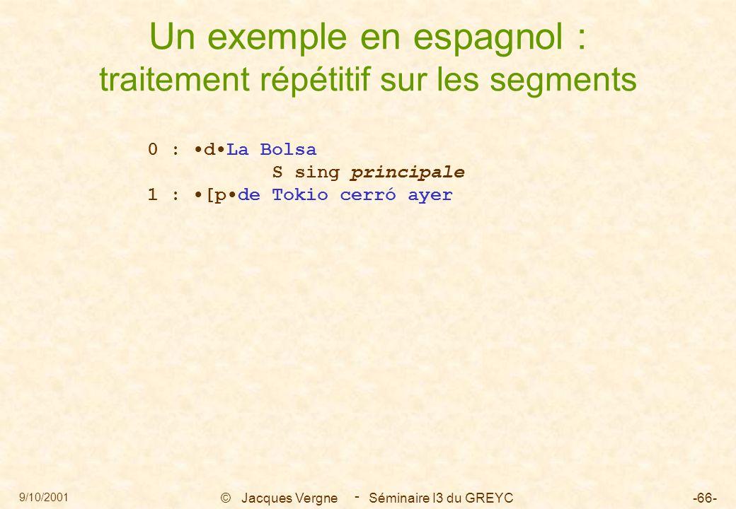 9/10/2001 © Jacques Vergne Séminaire I3 du GREYC-66- - Un exemple en espagnol : traitement répétitif sur les segments 0 : dLa Bolsa S sing principale 1 : [pde Tokio cerró ayer