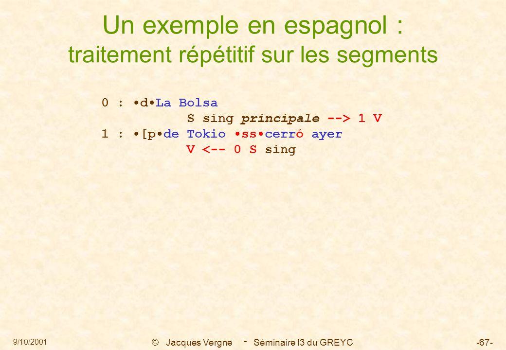 9/10/2001 © Jacques Vergne Séminaire I3 du GREYC-67- - Un exemple en espagnol : traitement répétitif sur les segments 0 : dLa Bolsa S sing principale