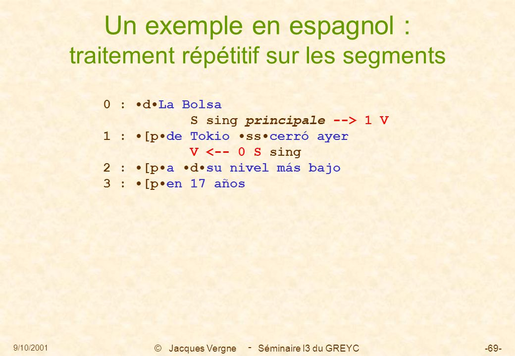 9/10/2001 © Jacques Vergne Séminaire I3 du GREYC-69- - Un exemple en espagnol : traitement répétitif sur les segments 0 : dLa Bolsa S sing principale