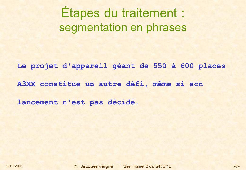 9/10/2001 © Jacques Vergne Séminaire I3 du GREYC-18- - 0 : dLe projet S sing principale --> 3 V 1 : [pd appareil géant 2 : [pde 550 3 : [pà 600 places A3XX ssconstitue V <-- 0 S sing V <-- 4 O 4 : [dun autre défi O --> 3 V 5 : [,, Étapes du traitement : traitement répétitif sur les segments