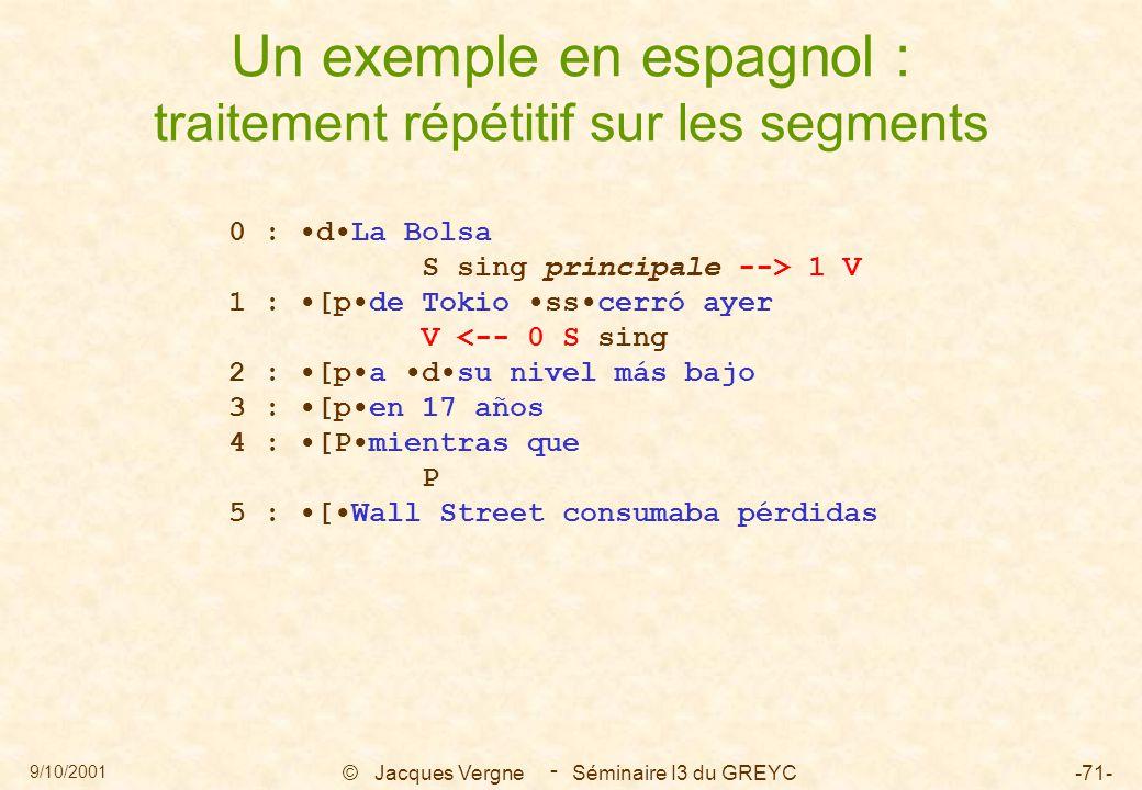9/10/2001 © Jacques Vergne Séminaire I3 du GREYC-71- - Un exemple en espagnol : traitement répétitif sur les segments 0 : dLa Bolsa S sing principale