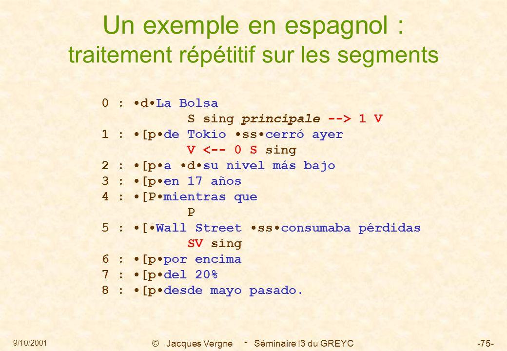 9/10/2001 © Jacques Vergne Séminaire I3 du GREYC-75- - Un exemple en espagnol : traitement répétitif sur les segments 0 : dLa Bolsa S sing principale