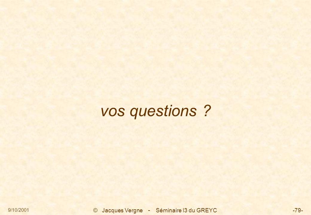 9/10/2001 © Jacques Vergne Séminaire I3 du GREYC-79- vos questions ? -