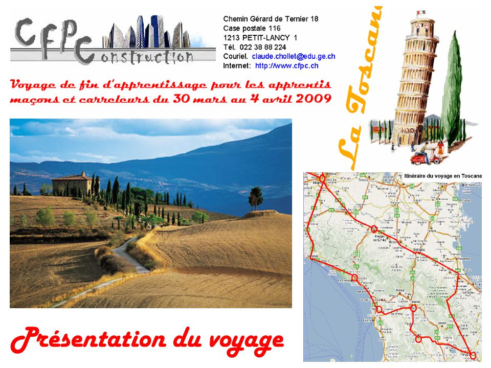 Mercredi : FlorenceDe Pise à Florence, environ 100 km Logement à l hôtel Malaspina au centre ville de Florence.