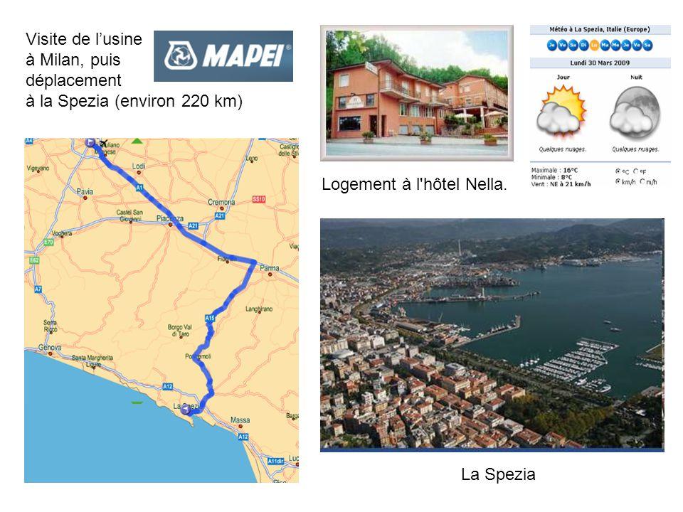 Visite de l'usine à Milan, puis déplacement à la Spezia (environ 220 km) Logement à l hôtel Nella.