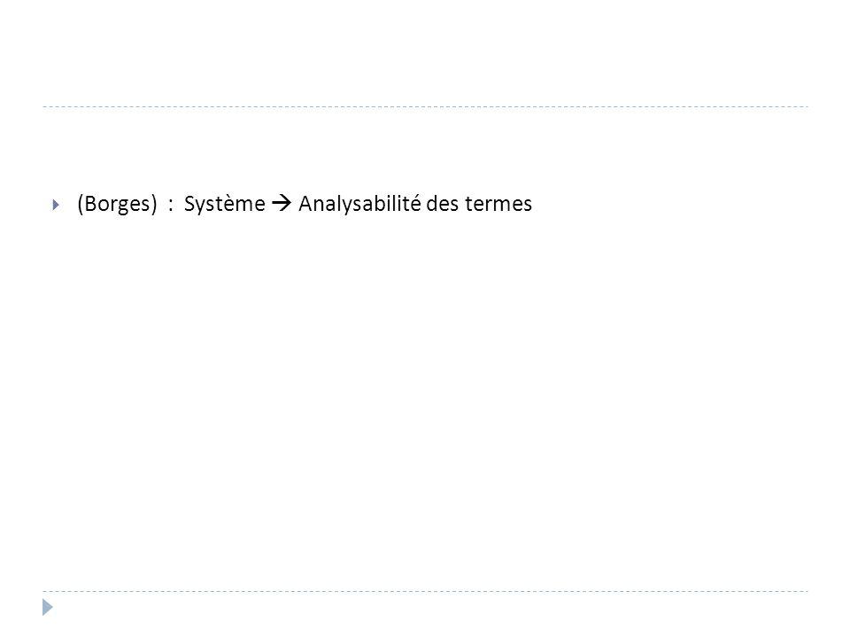  (Borges) : Système  Analysabilité des termes