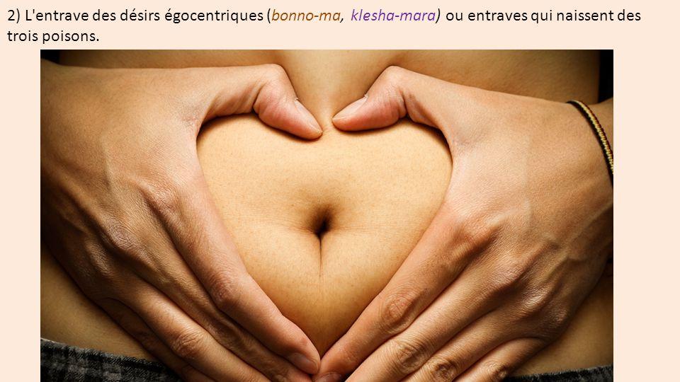 2) L'entrave des désirs égocentriques (bonno-ma, klesha-mara) ou entraves qui naissent des trois poisons.