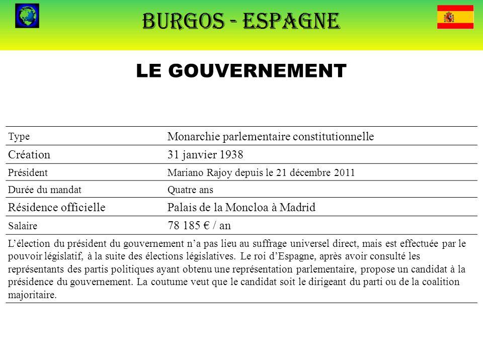 LE GOUVERNEMENT Type Monarchie parlementaire constitutionnelle Création31 janvier 1938 PrésidentMariano Rajoy depuis le 21 décembre 2011 Durée du mand