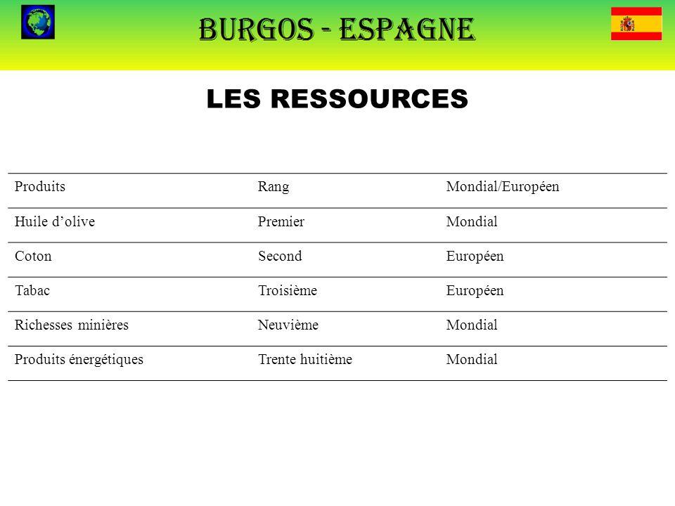 LES RESSOURCES ProduitsRangMondial/Européen Huile d'olivePremierMondial CotonSecondEuropéen TabacTroisièmeEuropéen Richesses minièresNeuvièmeMondial P