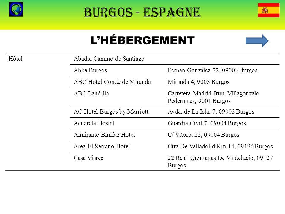 L'HÉBERGEMENT HôtelAbadia Camino de SantiagoC/ Villadiego, 10, 09001 Burgos Abba BurgosFernan Gonzalez 72, 09003 Burgos ABC Hotel Conde de MirandaMira