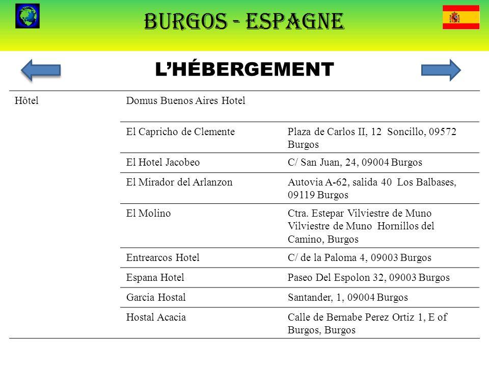 L'HÉBERGEMENT HôtelDomus Buenos Aires HotelCtra. N-I, Km 245 Villafría, 09192 Burgos El Capricho de ClementePlaza de Carlos II, 12 Soncillo, 09572 Bur