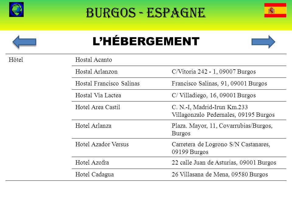 L'HÉBERGEMENT HôtelHostal AcantoC. Vitoria 261, Burgos Hostal ArlanzonC/Vitoria 242 - 1, 09007 Burgos Hostal Francisco SalinasFrancisco Salinas, 91, 0